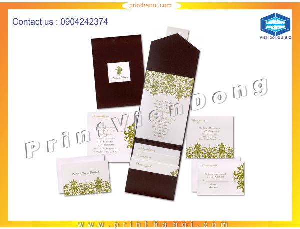 Print wedding invitations in ha noi | Business cards are cards bearing business information about a company or individual. They are shared during formal introductions as a convenience and a memory aid. A business card typically includes the giver's name, company or business affiliation (usually with a logo) and contact information such as street addresses, telephone number(s), fax number, e-mail addresses and website. Before the advent of electronic communication business cards might also include telex details. Now they may include social media addresses such as Facebook, LinkedIn and Twitter. Traditionally many cards were simple black text on white stock; today a professional business card will sometimes include one or more aspects of striking visual design. | Print Ha Noi