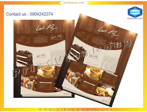 Print menu restaurent in hanoi | Foil business card and embossed business card | Print Ha Noi