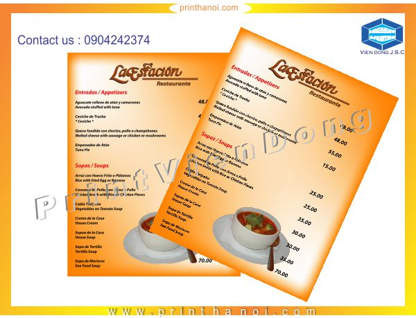Fast printing menu | Print high quality sticker in Hanoi | Print Ha Noi