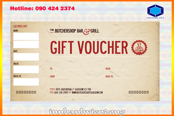 Print gift voucher in Ha Noi | Print Packaging | Print Ha Noi
