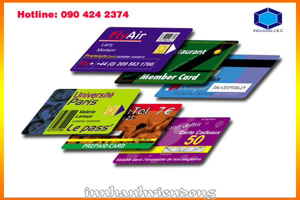 Print cheap PVC card in Ha Noi | Business cards are cards bearing business information about a company or individual. They are shared during formal introductions as a convenience and a memory aid. A business card typically includes the giver's name, company or business affiliation (usually with a logo) and contact information such as street addresses, telephone number(s), fax number, e-mail addresses and website. Before the advent of electronic communication business cards might also include telex details. Now they may include social media addresses such as Facebook, LinkedIn and Twitter. Traditionally many cards were simple black text on white stock; today a professional business card will sometimes include one or more aspects of striking visual design. | Print Ha Noi