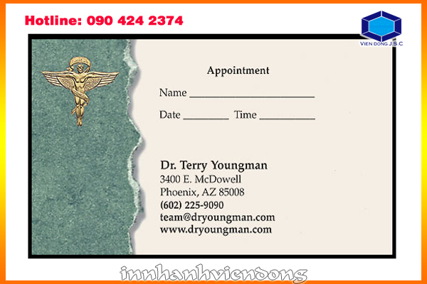 print cheap appointment card | 24 hour cheap- fast business cards at Ha Noi | Print Ha Noi
