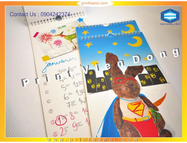 Calendar Printing In Ha Noi | Foil business card and embossed business card | Print Ha Noi